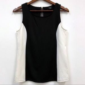 Ann Taylor Black White Colorblock Tank Blouse S